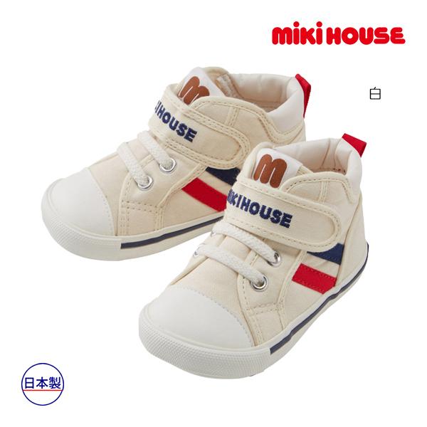 (海外販売専用)ミキハウス mikihouse mロゴ サイドラインセカンドベビーシューズ(13cm-15cm)