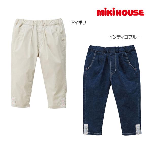 (海外販売専用)ミキハウス mikihouse お花レースのポイント付き 8分丈パンツ(100cm・110cm)