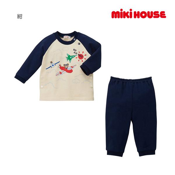 (海外販売専用)ミキハウス mikihouse 飛行機プッチー ミニ裏毛パイルパジャマ(80cm-130cm)
