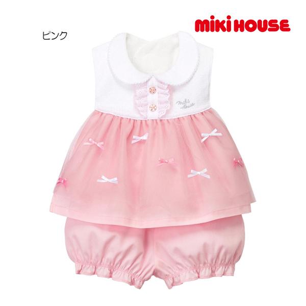 (海外販売専用)ミキハウス mikihouse ドレス風スタイ・ブルマセット〈フリー(70cm-90cm)〉