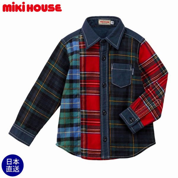 ミキハウス正規販売店/ミキハウス mikihouse パッチワーク長袖シャツ(110cm・120cm・130cm)