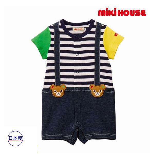 (海外販売専用)ミキハウス【MIKI HOUSE】プッチー サスペンダー風ショートオール★(70cm・80cm)