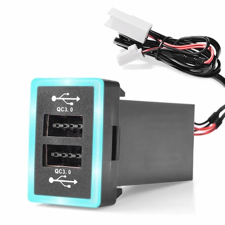 トヨタ車系用USB充電器 QC3.0×2急速充電 USBクイックチャージ 驚きの値段 電源ソケット カーチャージャー スマホ充電 メーカー在庫限り品 HOP-TYOQC302 USB拡張に TOYOTA車汎用