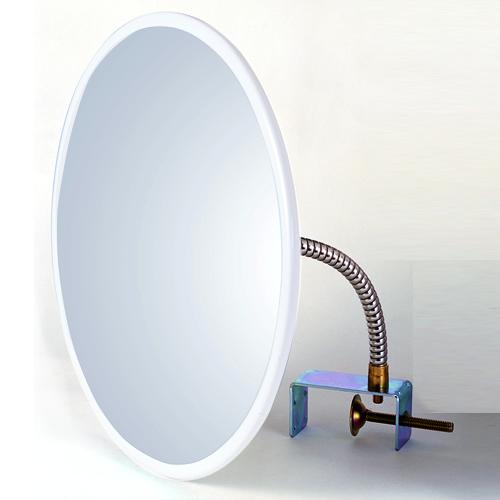 防犯ミラー 安全確認ミラー HB-丸45 クランプ 白 アクリル製 安全確認 死角 安心 安全 防犯 室内 屋内 ミラー 鏡 日本製 万引き防止 簡単 取り付け