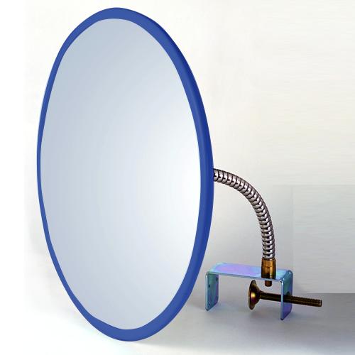防犯ミラー 安全確認ミラー HB-丸45 クランプ 青 アクリル製 安全確認 死角 安心 安全 防犯 室内 屋内 ミラー 鏡 日本製 万引き防止 簡単 取り付け