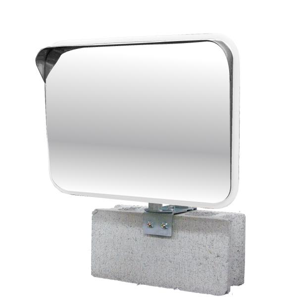 ステンレス製カーブミラー(ガレージミラー) HPS-角50白 クランプ金具付