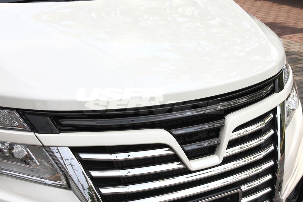M'z SPEED エムズスピード フロントグリル 塗装済 エルグランド E52 後期 ハイウェイスター エクスクルーシブ ゼウス ZEUS グレースライン