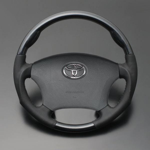 アルファード 10系 FEGGARI フェガーリ ブラックカーボン調×ダークグレーレザー ハイグレード ウッド&レザー ステアリング ガングリップ LS119
