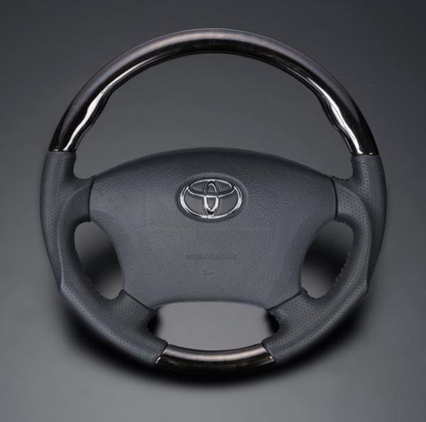 ヴォクシー ノア 60系 FEGGARI フェガーリ マホガニー×ダークグレーレザー トップグレード ウッド&レザー ステアリング ガングリップ LD102