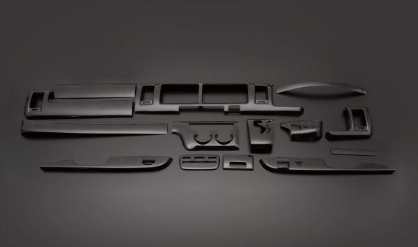 ハイエース レジアスエース FEGGARI フェガーリ 黒木目 ハイグレード インテリアパネル 15ピース PLT681