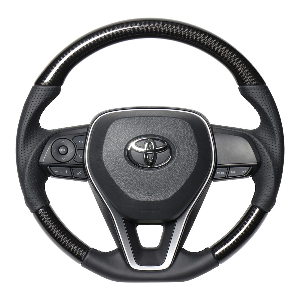 REAL レアル カローラスポーツ 210系 ステアリング プレミアムシリーズ ブラックカーボン (ブラックユーロステッチ) TYAP-BKC