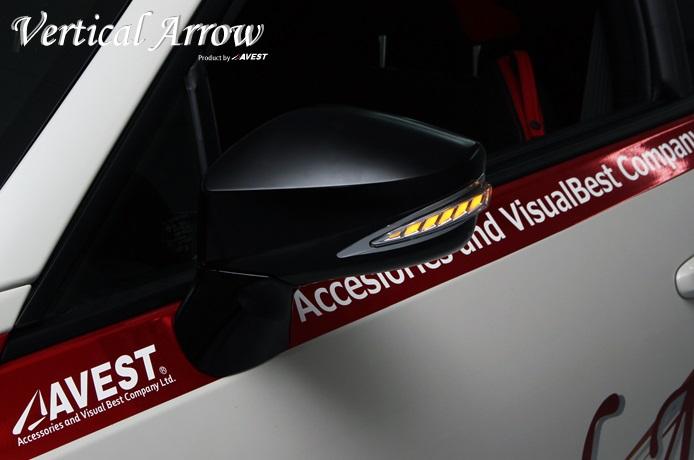 AVEST Vertical Arrow 86 ハチロク ZN6 Type Zs LED ドアミラー ウインカー&カバー 艶消しブラック インナーレッドxランプホワイト AV-019-BK-W-R アベスト
