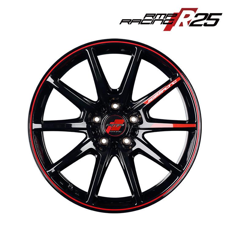 18インチ 5H114.3 8.5J+45 5穴 MID RMPレーシング R25 4本 1台分セット ホイール マルカ RMP RACING ブラック/リムレッドライン