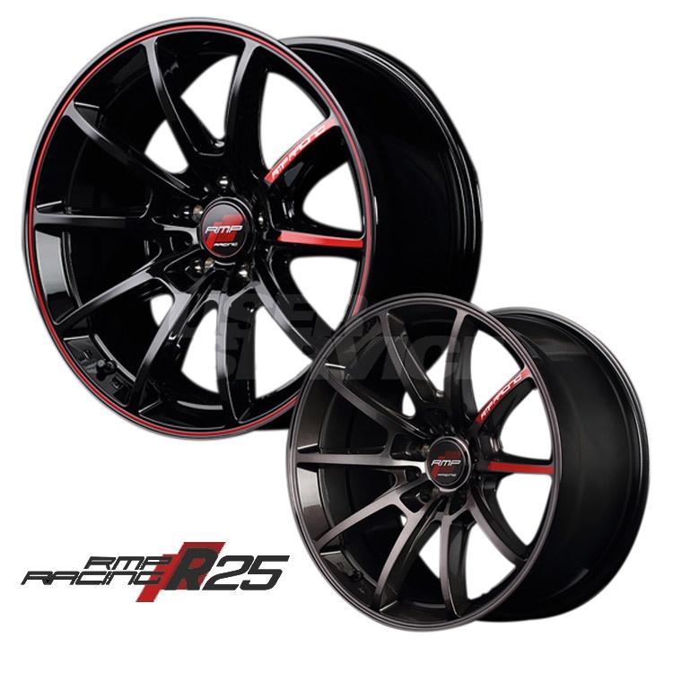 18インチ 5H100 8.0J 8J+45 5穴 MID RMPレーシング R25 4本 1台分セット ホイール マルカ RMP RACING ブラック/リムレッドライン