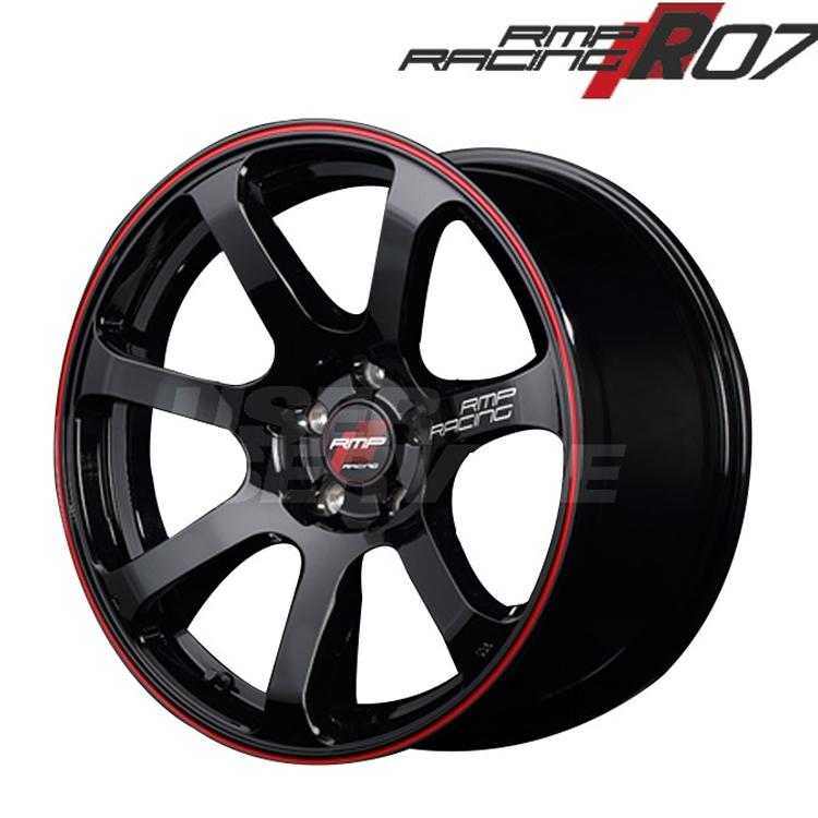17インチ 4H100 7.0J 7J+45 4穴 MID RMPレーシング R07 1本 ホイール マルカ RMP RACING ブラック/リムレッドライン