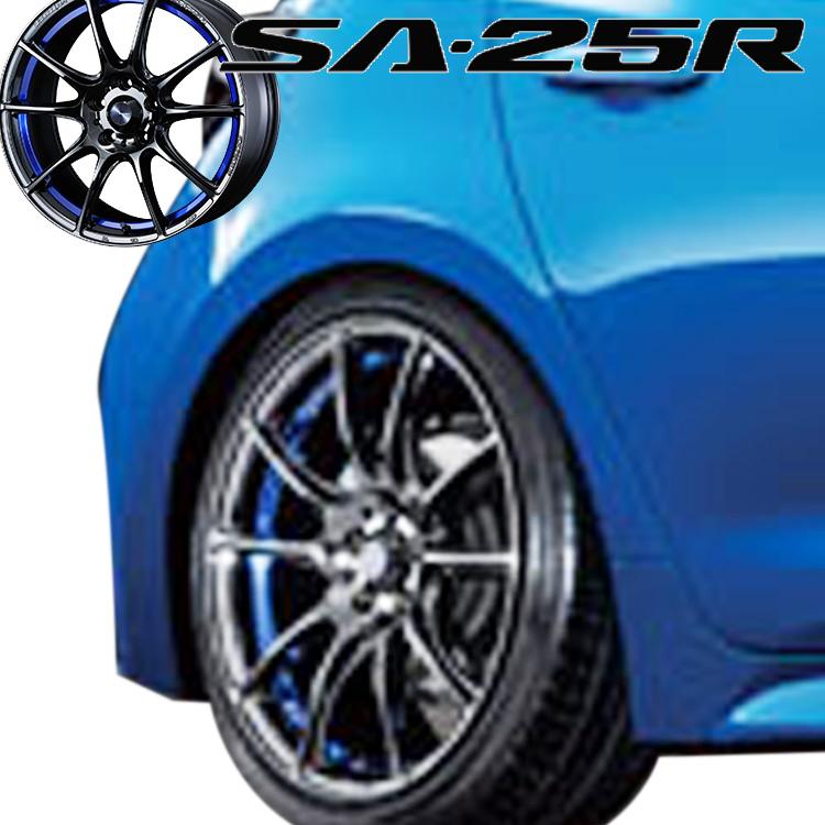 17インチ 5H100 7.5J+48 5穴 ウェッズスポーツ SA25R 4本 1台分セット weds sport SA-25R ブルーライトクロームツー 個人宅発送追金有