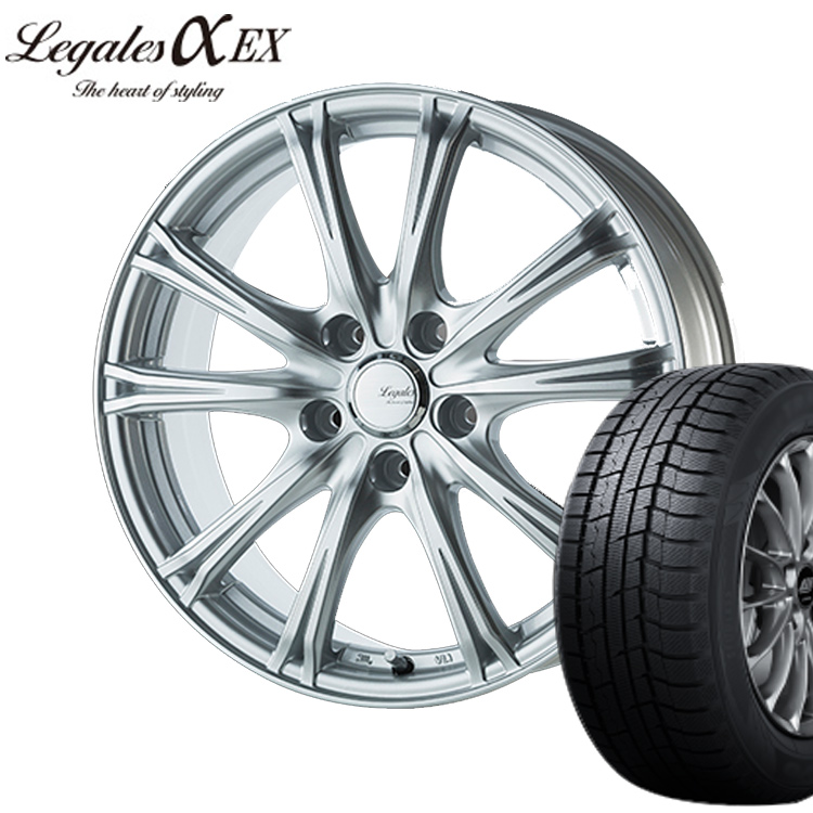 195/50R16 195 50 16 ウィンターマックス WM02 ダンロップ スタッドレス タイヤホイールセット 1本 リーガレス 16インチ 5H114.3 6.5J+45 LEGALESα EX