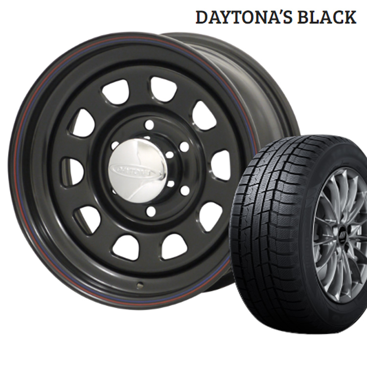 ウィンターマックス02 205/55R16 205 55 16 ダンロップ スタッドレスタイヤ ホイールセット 1本 16インチ 6H139.7 6.5J+38 デイトナ ブラック モリタ DAYTONA'S BLACK