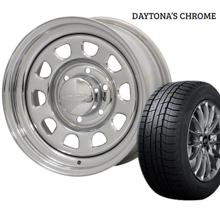 ウィンターマックス02 195/65R15 195 65 15 ダンロップ スタッドレスタイヤ ホイールセット 1本 15インチ 5H127 7.0J 7J-6 デイトナ クローム モリタ DAYTONA'S CHROME