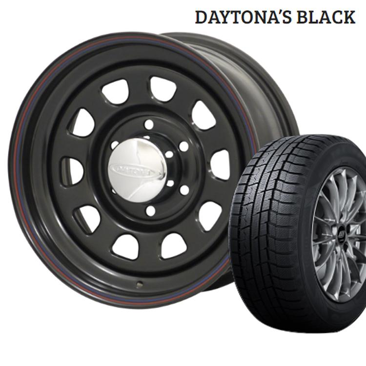 ウィンターマックス02 205/70R15 205 70 15 ダンロップ スタッドレスタイヤ ホイールセット 4本 1台分セット 15インチ 5H114.3 7J+12 デイトナ ブラック モリタ DAYTONA'S BLACK