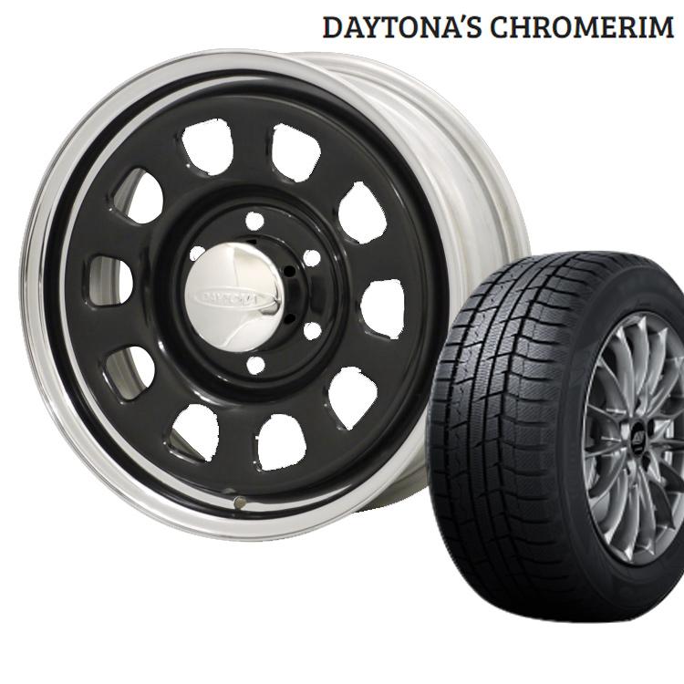 デイトナ クローム スタッドレス タイヤ ホイール セット 1本 15インチ 5H114.3 7J+12 BS ブリヂストン BRIDGESTONE BLIZZAK VRX2 195/65R15 195 65 15