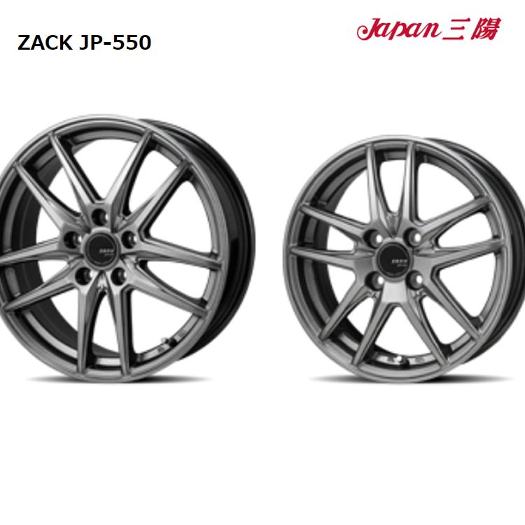 14インチ 4H100 5.0J+38 4穴 4 本 1台分セット ザック JP550 ホイール ブラックシルバー JAPAN三陽 ZACK JP-550
