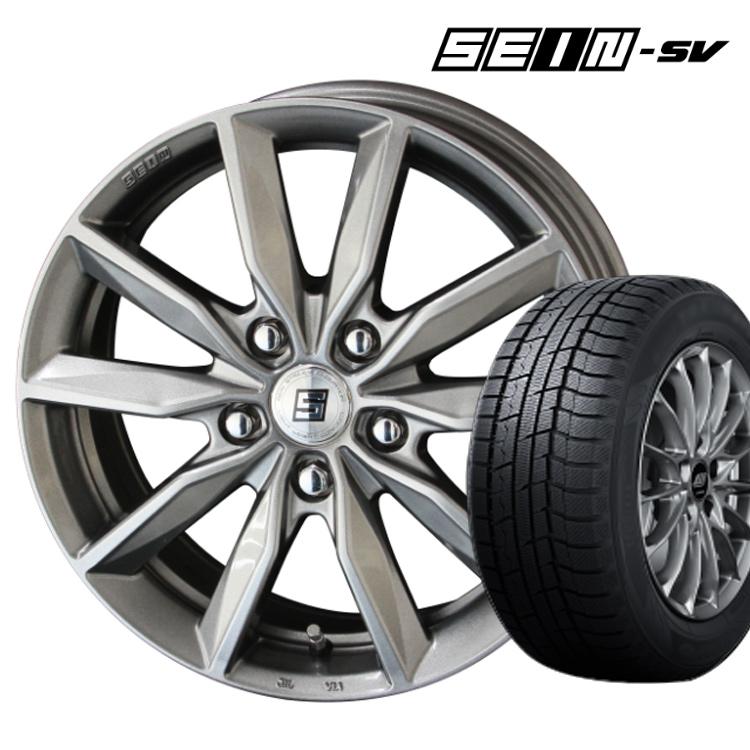 ダンロップ 205/55R16 205 55 16 ウィンターマックス02 スタッドレスタイヤ ホイールセット 4本 1台分セット ザイン SV 16インチ 5H100 6.5J+48 SEIN-SV