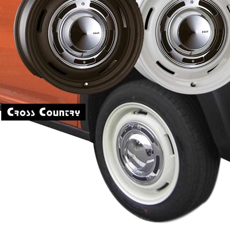 15インチ 4H100 6.0J 6J+42 4穴 クリムソン クロスカントリー ホイール 4本 1台分セット CRIMSON DEAN Cross Country ホワイト/ブラック 個人宅発送追金有