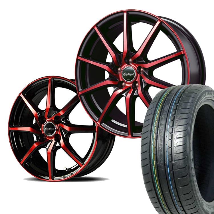 165/55R14 165 55 14 特選輸入タイヤ サマー タイヤホイールセット 4本 ユーロスピード S810 14インチ 4H100 4.5J+45 ブラックポリッシュ レッドクリア