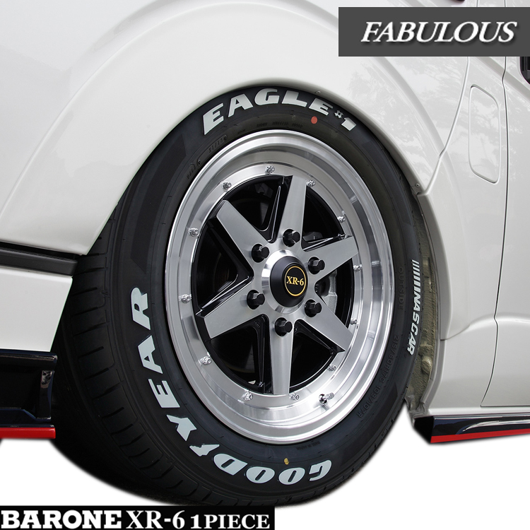 ハイエース用 16インチ グッドイヤー イーグル ナスカー 4本 215/65R16 109/107R タイヤ ホイール セット バローネ XR-6 1P 6H139.7 6.5J+38 ファブレス