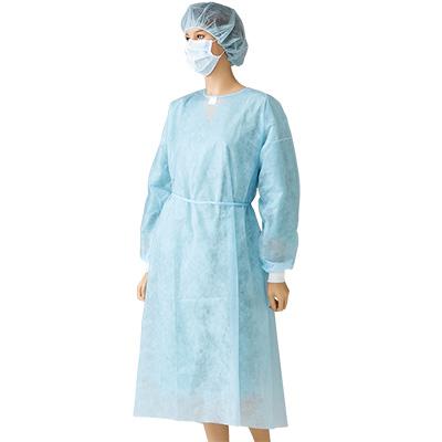 白十字 アイソレーションガウン 袖口付 50枚入 青色 袖口ニット 丈長 介護・処置用