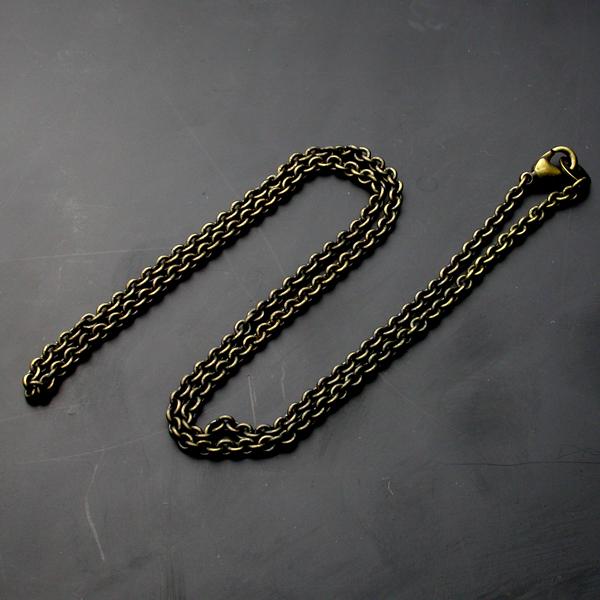 真鍮製アズキチェーン・50センチ・古美仕上げ