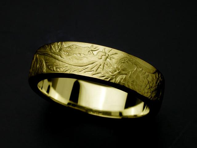昇龍リング・青龍・K18金ゴールド(#7~#15) 【指輪】 【リング】 【メンズ】 【レディース】 【彫ぎん】 【18金】 【K18】 【ゴールド】