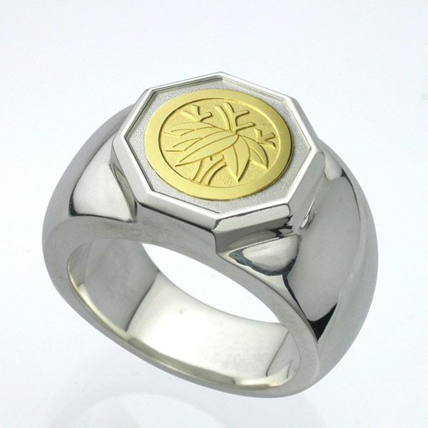 家紋リング・八角・K18金ゴールドエンブレム・松コース Famliycrest 指輪 メンズ サイズ メンズアクセ シルバー ゴールド 彫刻 彫金 銀 SILVER GOLD 950 925 オーダーメイド