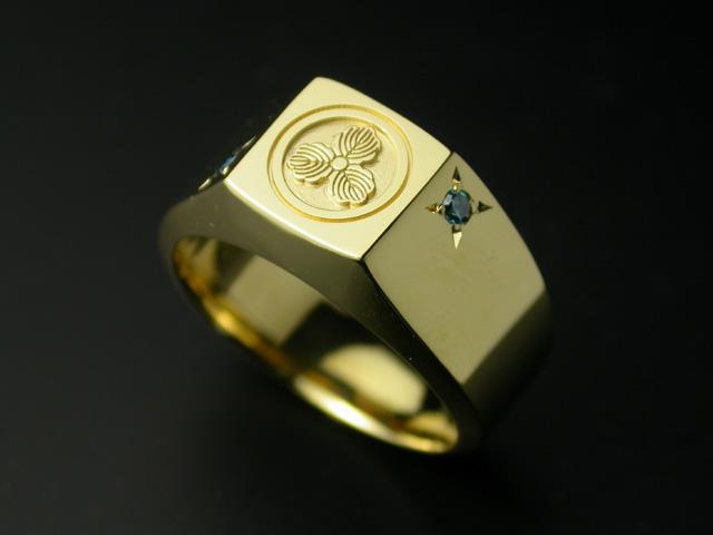家紋リング・艶・K18ゴールド石留めオプション