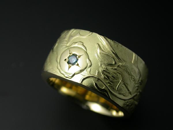 昇龍リングK18ゴールド・Pt900プラチナ石留めオプション