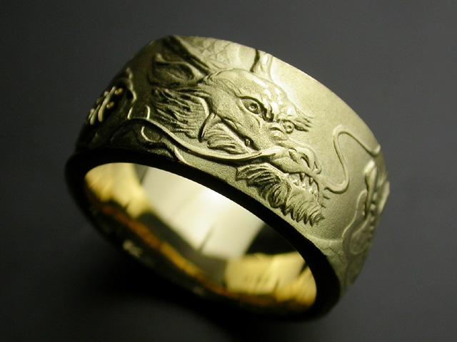 昇龍リング・右龍・K18ゴールド(#15~#19) 【指輪】 【リング】 【メンズ】 【サイズ】 【メンズアクセ】 【梵字】 【18金】 【K18】 【ゴールド】