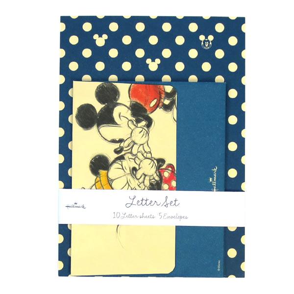 ディズニーレターセット いよいよ人気ブランド レターセット ディズニー ミッキードット青 10 ホールマーク大人 便箋10枚と封筒5枚のセット オシャレ シンプル トラスト EES-650-315