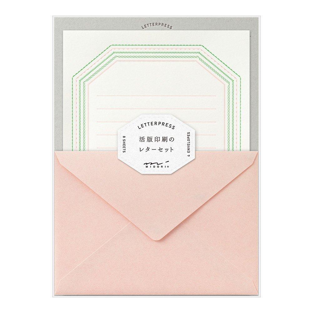 メール便可能 上品で美しいデザインを活版印刷で表現 レターセット 活版印刷 フレーム柄 ピンク 封筒4枚 公式 オーバーのアイテム取扱☆ ミドリ大人 便箋8枚 86462 オシャレ シンプル