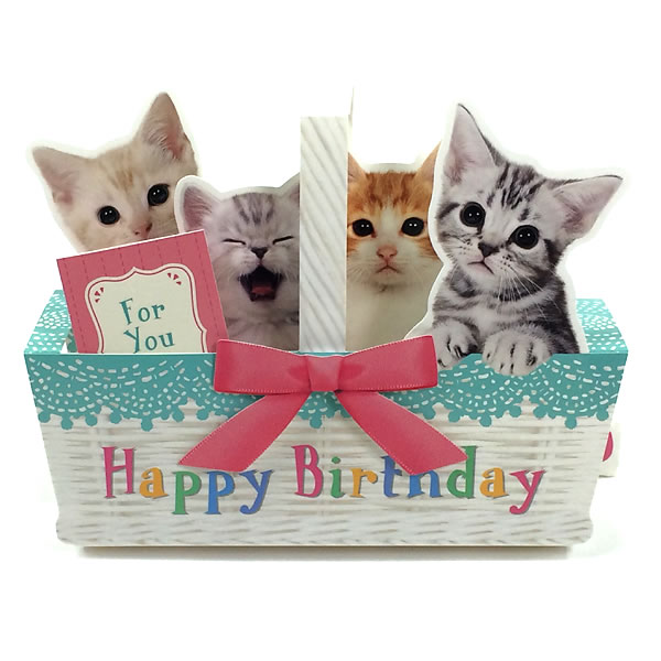 Open The Card And Easily Become Stereoscopic So I Decorate Write Messages With Attached Mini HAPPY BIRTHDAY TO YOU Singing Cat Press