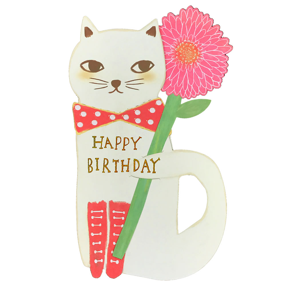 Cat Flower BIRTDAY It Is The Birthday Card Of Cute To Put Up And Be Able Display There Message Space On Back