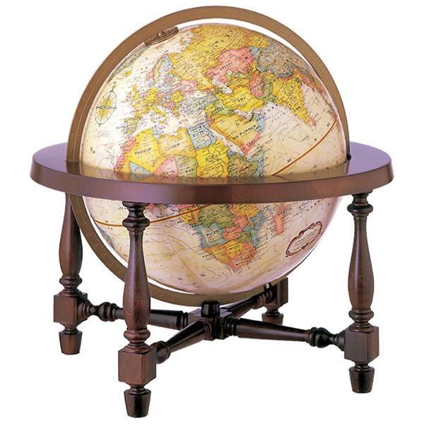 リプルーグル地球儀 コロニアル型 英語版 31700 球径30cm 行政型 山岳起伏加工 照明なし ワールド・クラシック・シリーズ