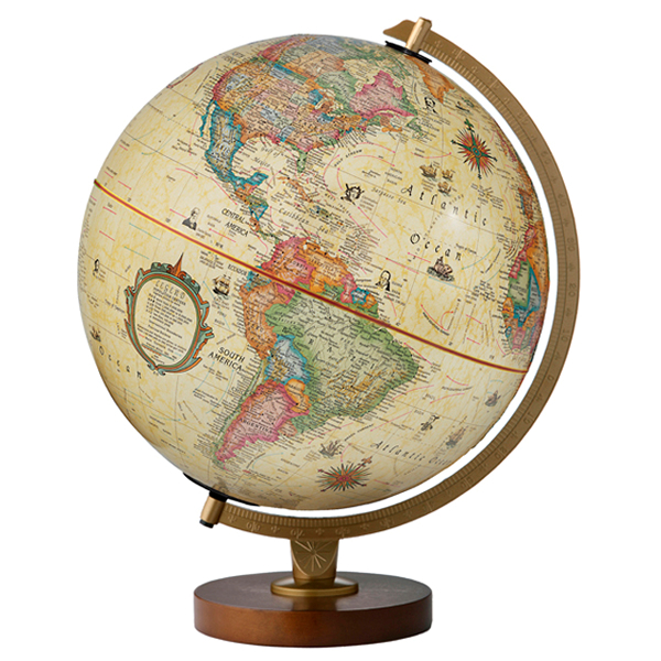 リプルーグル地球儀 パノラマ・アンティーク型 英語版アンティーク地図 83500 球径30cm 行政型 山岳起伏加工 照明付