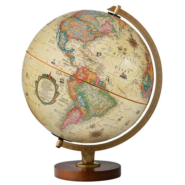 (3/31-4/1割引クーポン対象品) リプルーグル地球儀 パノラマ・アンティーク型 日本語版アンティーク地図 83572 球径30cm 行政型 山岳起伏加工 照明付