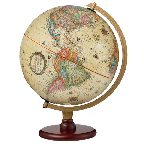 [マラソン期間中P5倍&2つの割引クーポンあり] リプルーグル地球儀 カーライル型 日本語版アンティーク地図 83573 球径30cm 行政型 山岳起伏加工 照明付