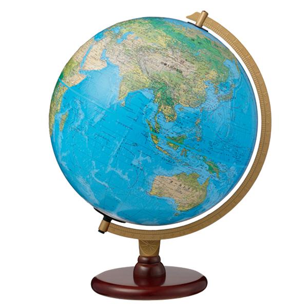 (3/31-4/1割引クーポン対象品) リプルーグル地球儀 カーライル型 日本語版ブルーオーシャン地図 86573 球径30cm 地勢・行政型 山岳起伏加工 照明付