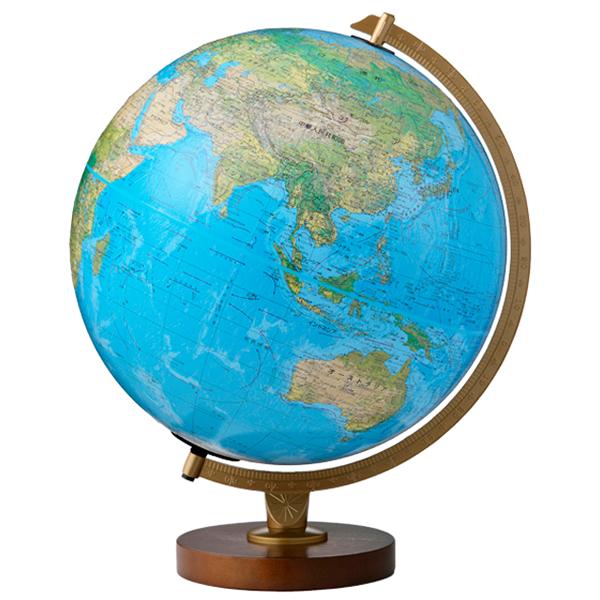(3/31-4/1割引クーポン対象品) リプルーグル地球儀 リビングストン型 日本語版ブルーオーシャン地図 86578 球径30cm 地勢・行政型 山岳起伏加工 照明付