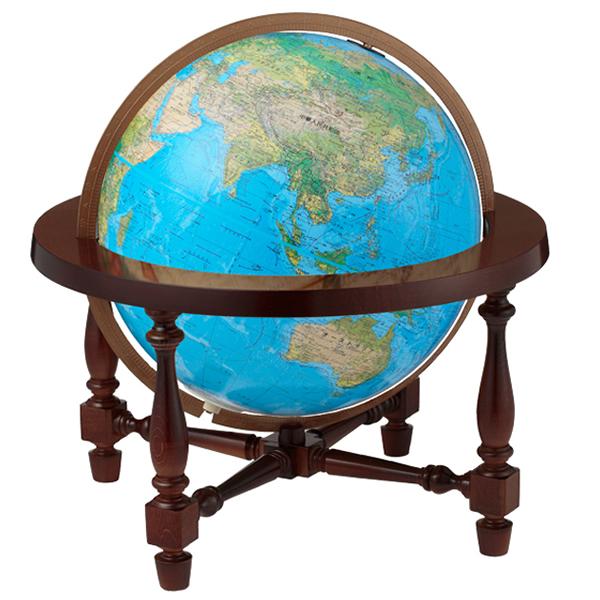 リプルーグル地球儀 ジェームス・ウィルソン型 日本語版ブルーオーシャン地図 86778 球径30cm 地勢・行政型 山岳起伏加工 照明付