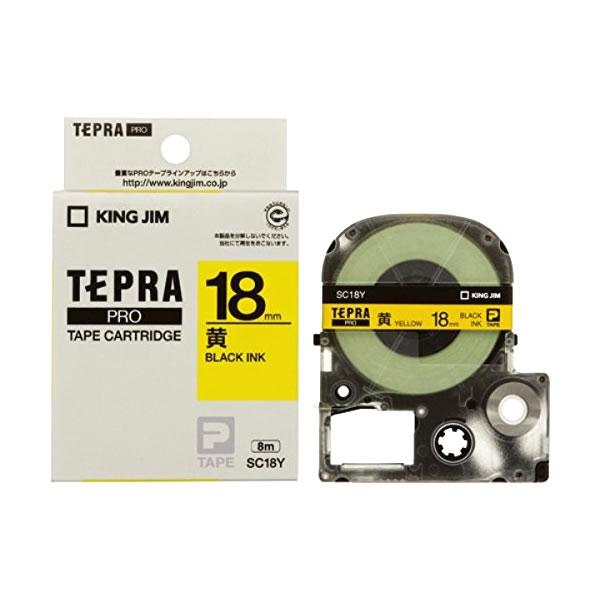 メール便不可 テプラ テープカートリッジ キングジム テプラPRO 高価値 カラーラベル 黒文字 黄地 パステル 18mm SC18Y セール商品