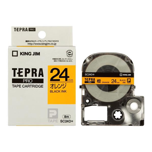 限定モデル メール便不可 テプラ テープカートリッジ キングジム テプラPRO 定番から日本未入荷 カラーラベル SC24D 黒文字 パステル オレンジ地 24mm